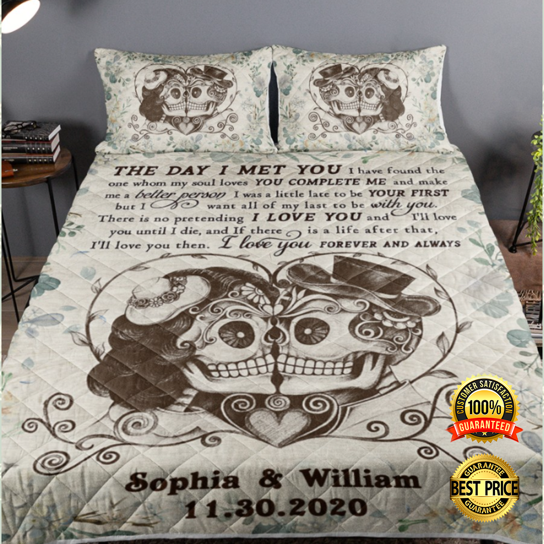 Personalized skull the day i met your bedding set