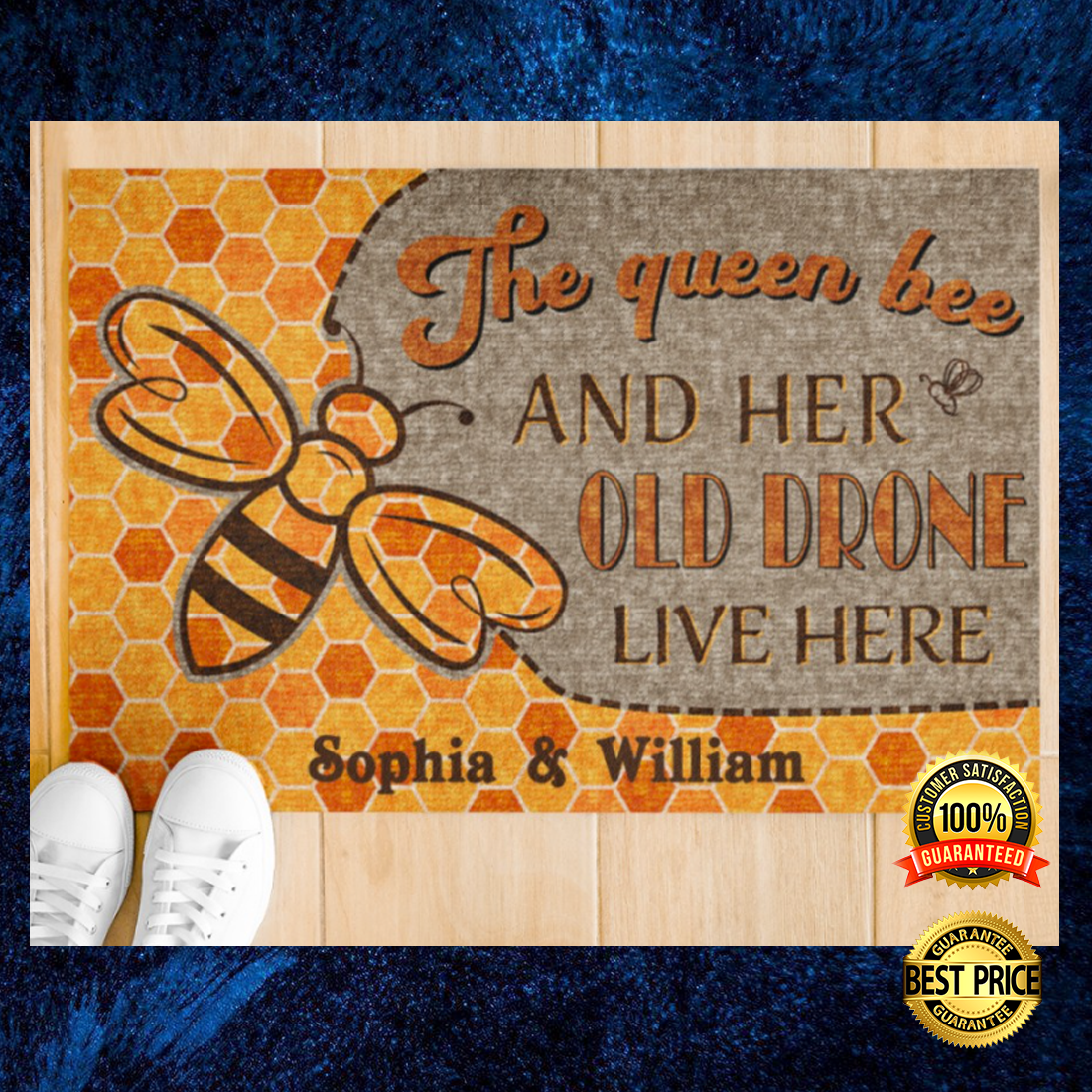 Personalized the queen bee and her old brone live here doormat 2