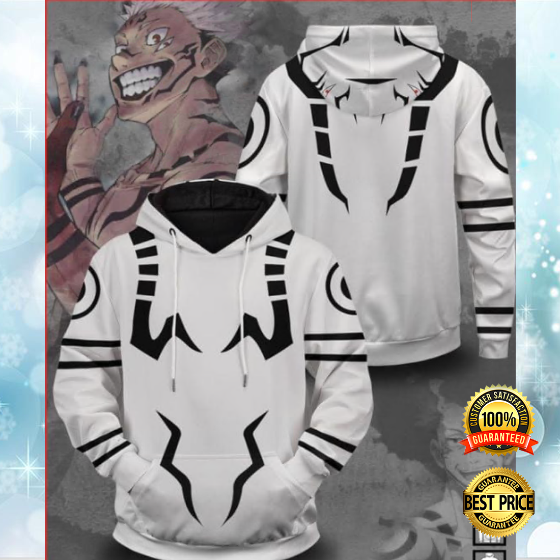 Sukuna all over printed 3D hoodie 5