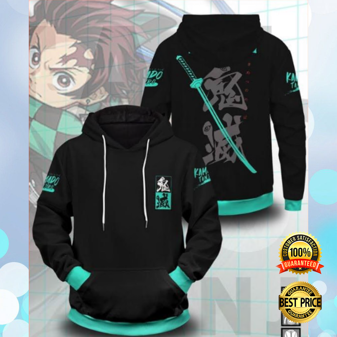 The Tanjirou Style all over printed 3D hoodie 3