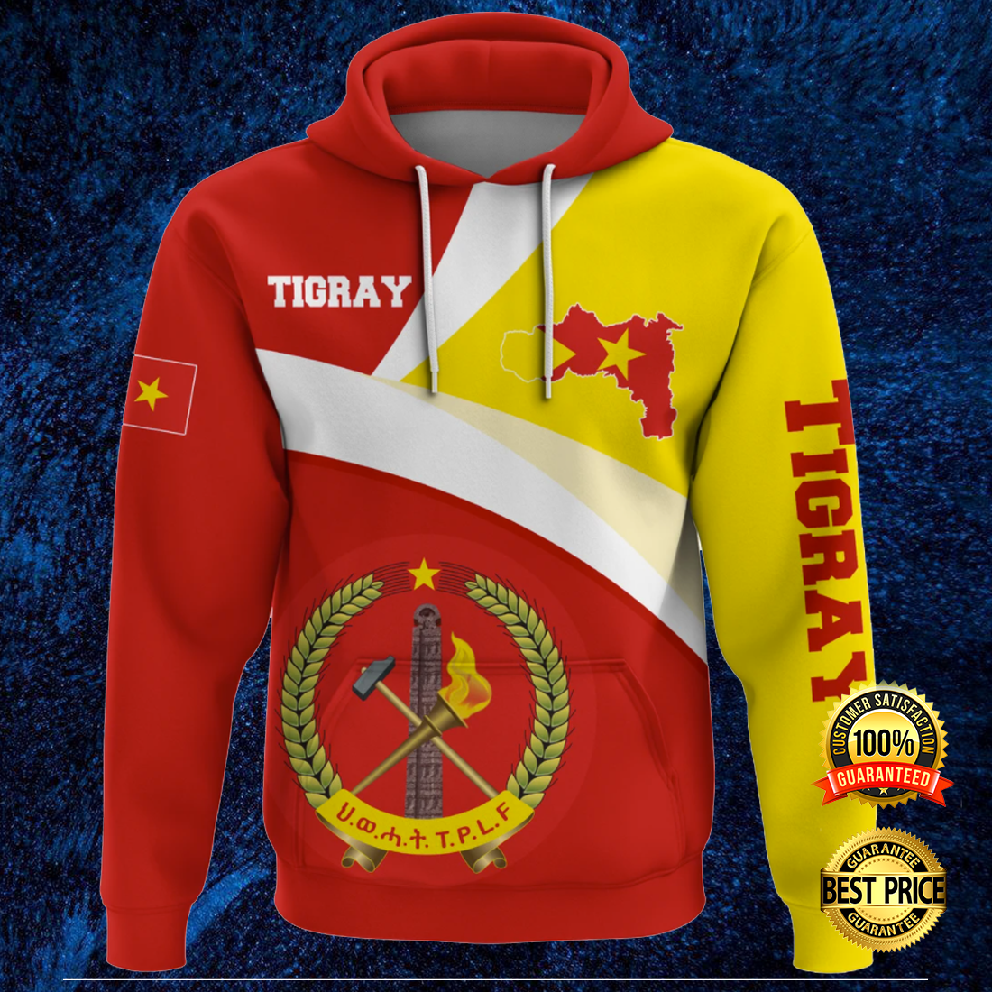Tigray flag and map all over printed 3D hoodie 3