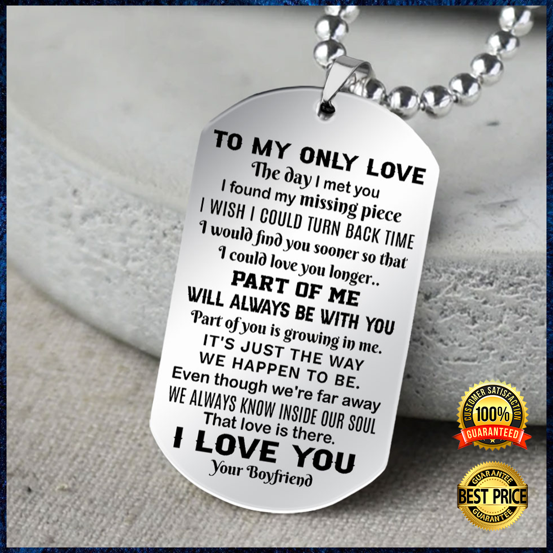 To my only love the day i met you i found my missing piece dog tag 1 4
