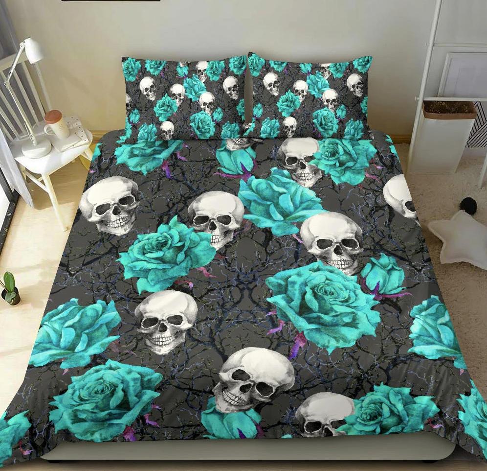 Turquoise rose skull bedding set