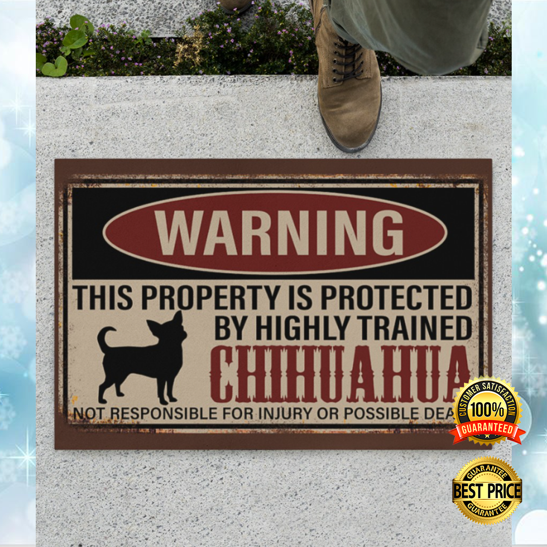 Warning this property is protected by highly trained chihuahua doormat 5