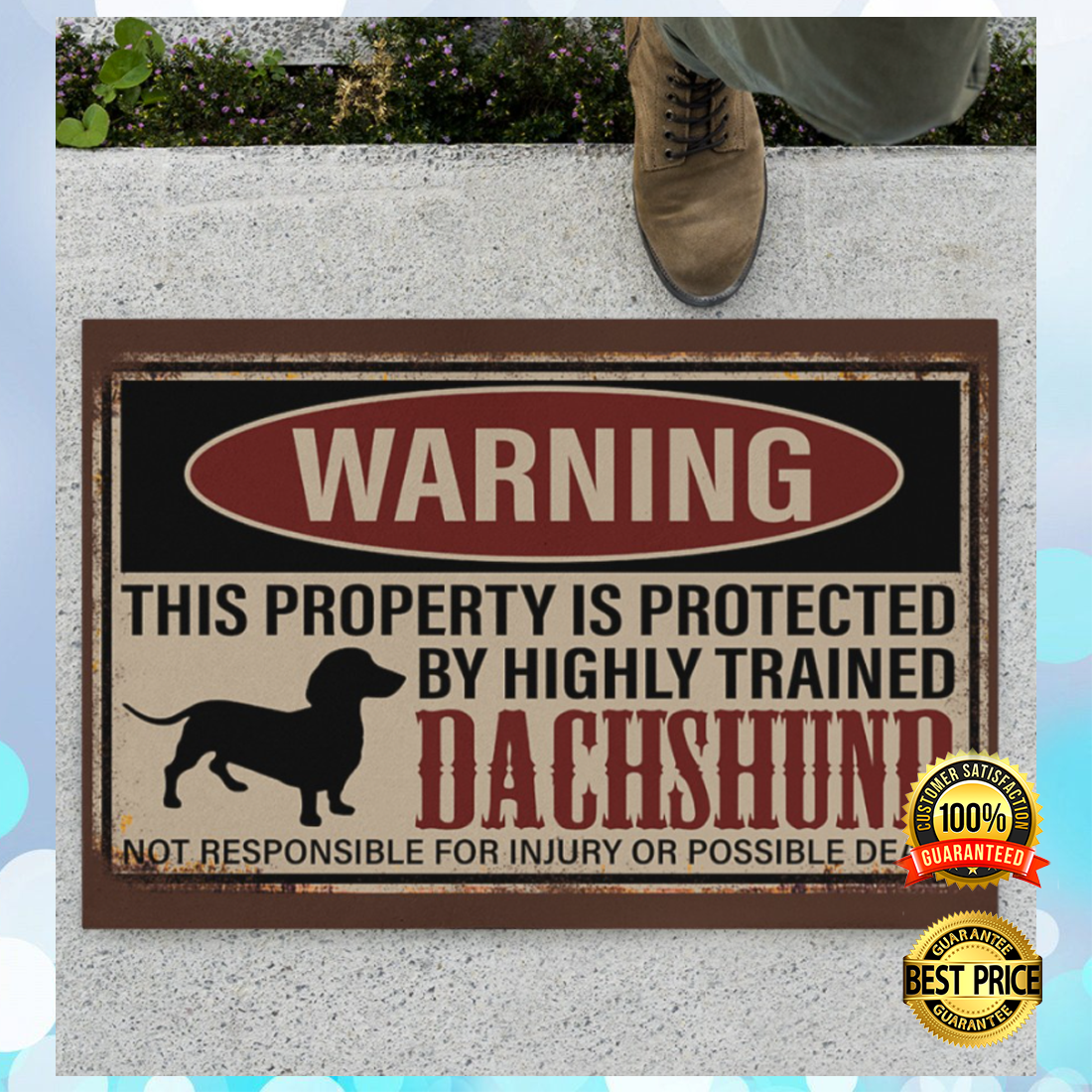 Warning this property is protected by highly trained dachshund doormat 4