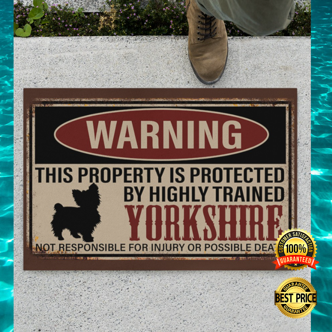 Warning this property is protected by highly trained yorkshire doormat 4