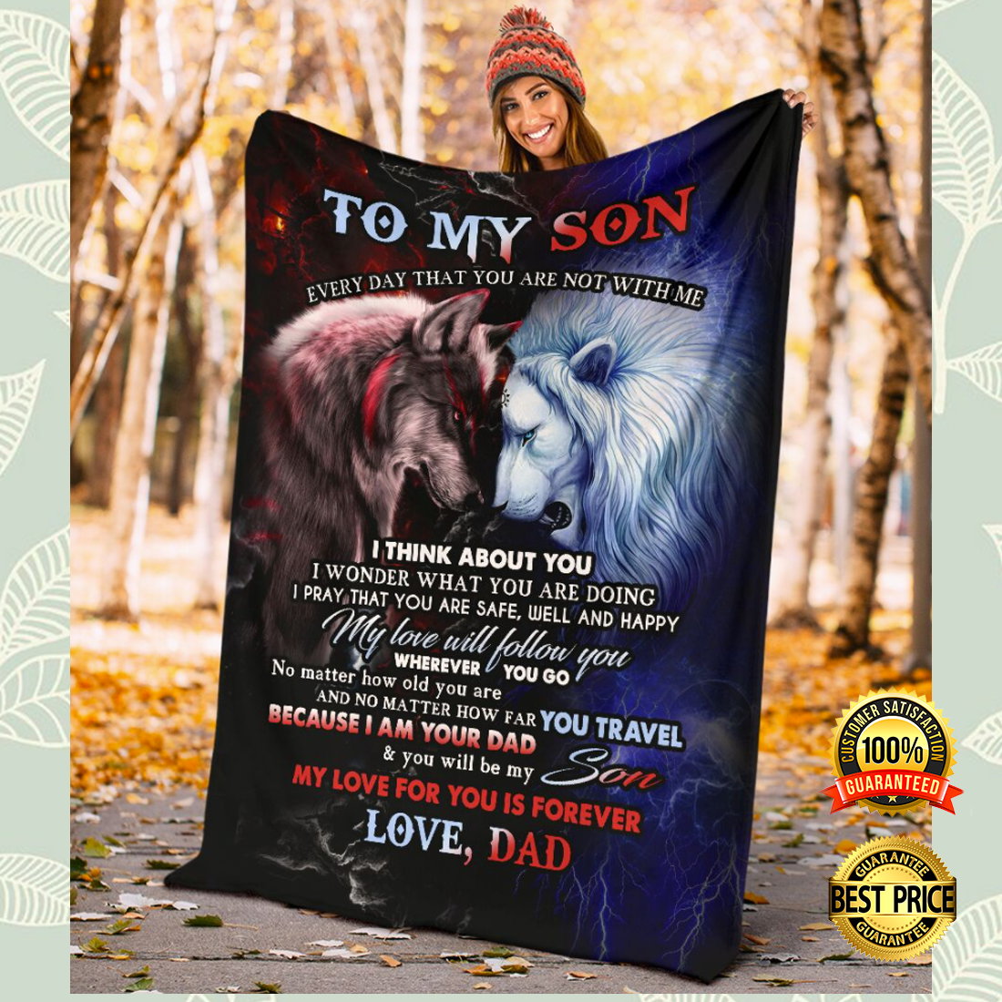 Wolf and lion to my son every day that you are not with me i think about you blanket 3