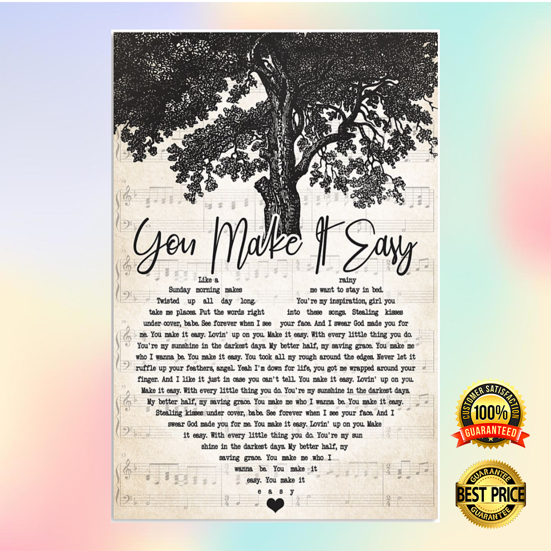 You make it eassy heart song lyric poster 5