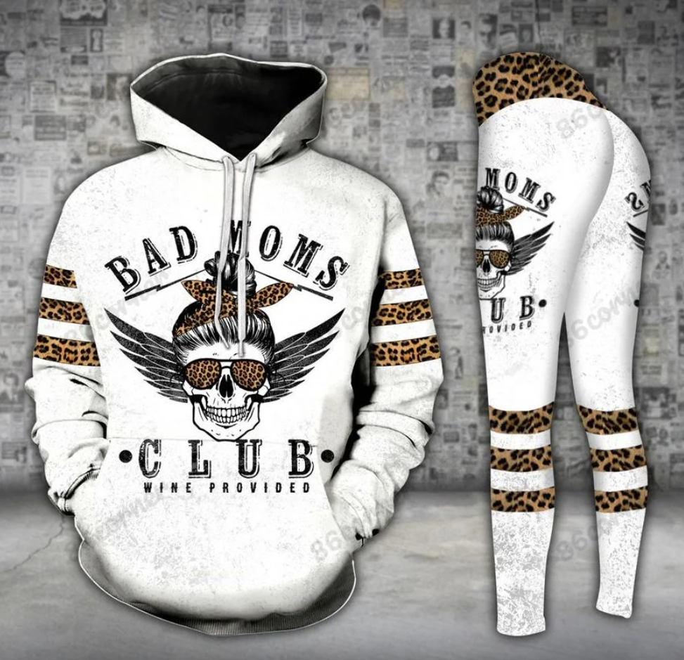 Bad moms club wine provided all over printed 3D legging and hoodie