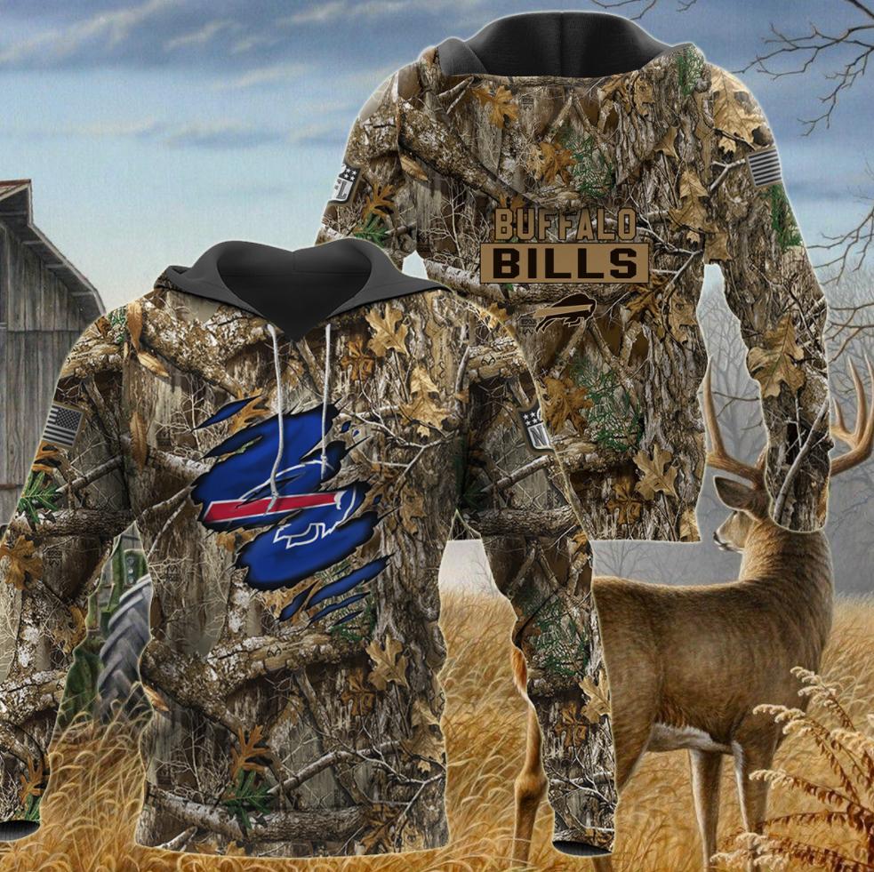 Buffalo Bills deer hunting camo all over printed 3D hoodie
