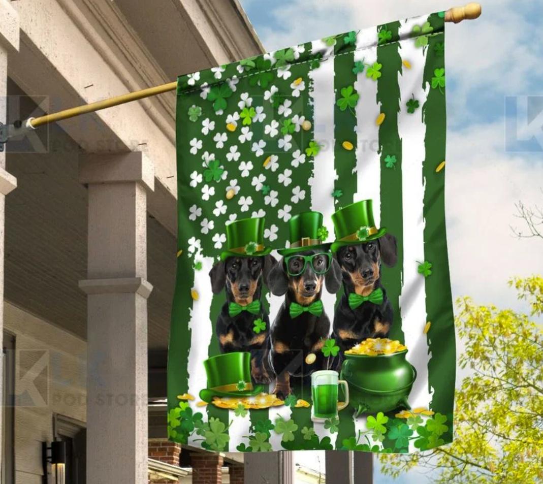 Dachshund St. Patrick's Day flag
