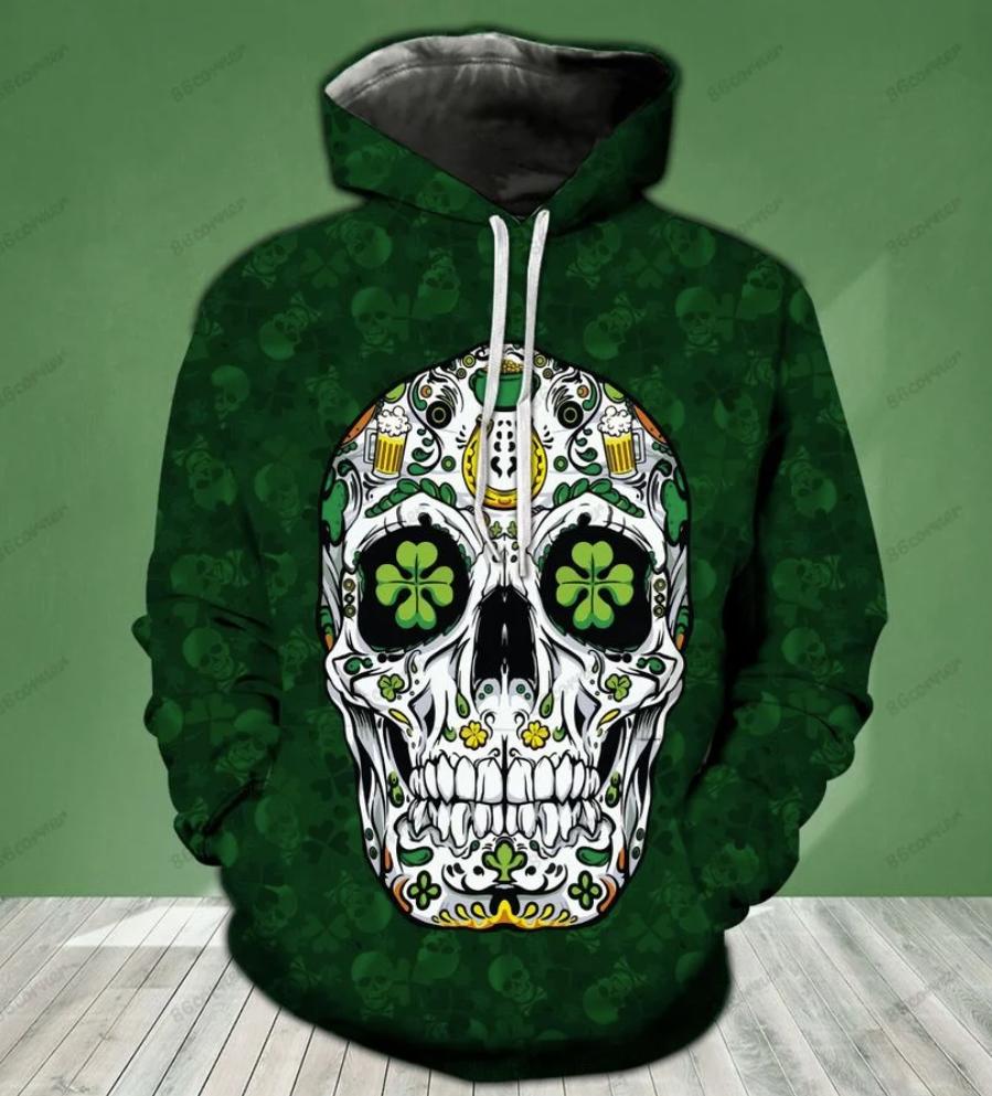 Irish sugar skull all over printed 3D hoodie