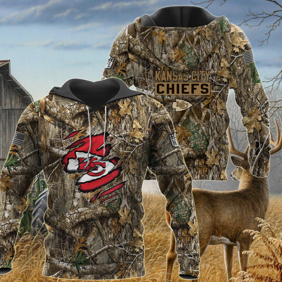 Kansas City Chiefs deer hunting camo all over printed 3D hoodie