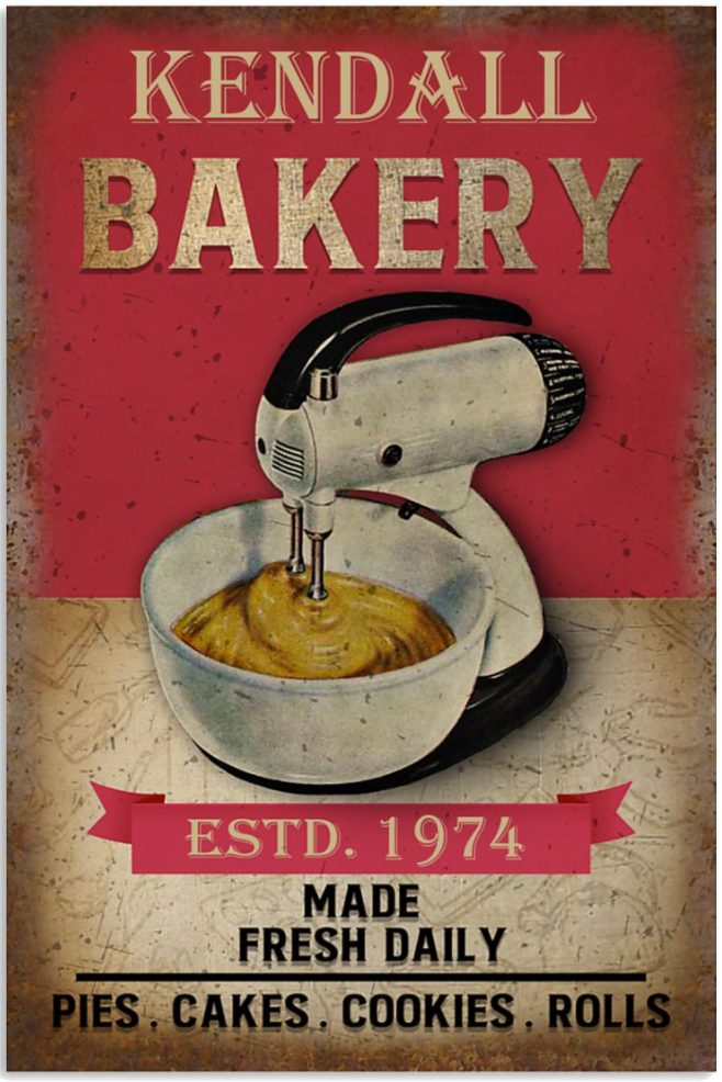 Personalized bakery estd 1974 made fresh daily poster