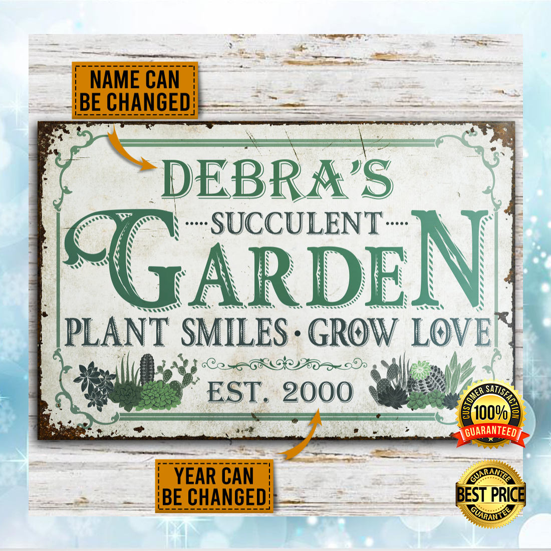Personalized succulent garden plant smiles grow love poster 5