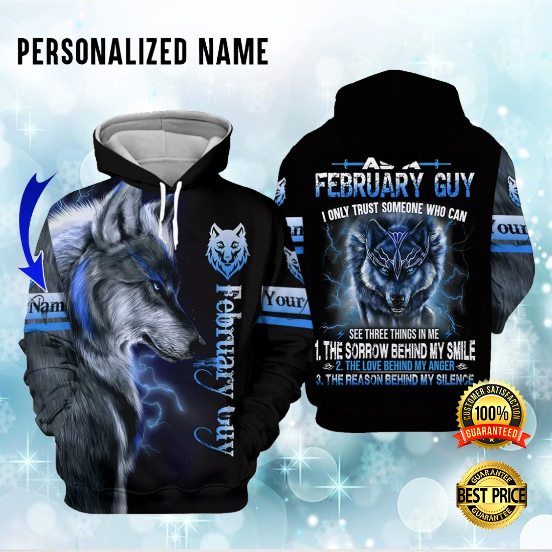 Personalized wolf february guy i only trust someone who can see three things in me all over printed 3D hoodie 4