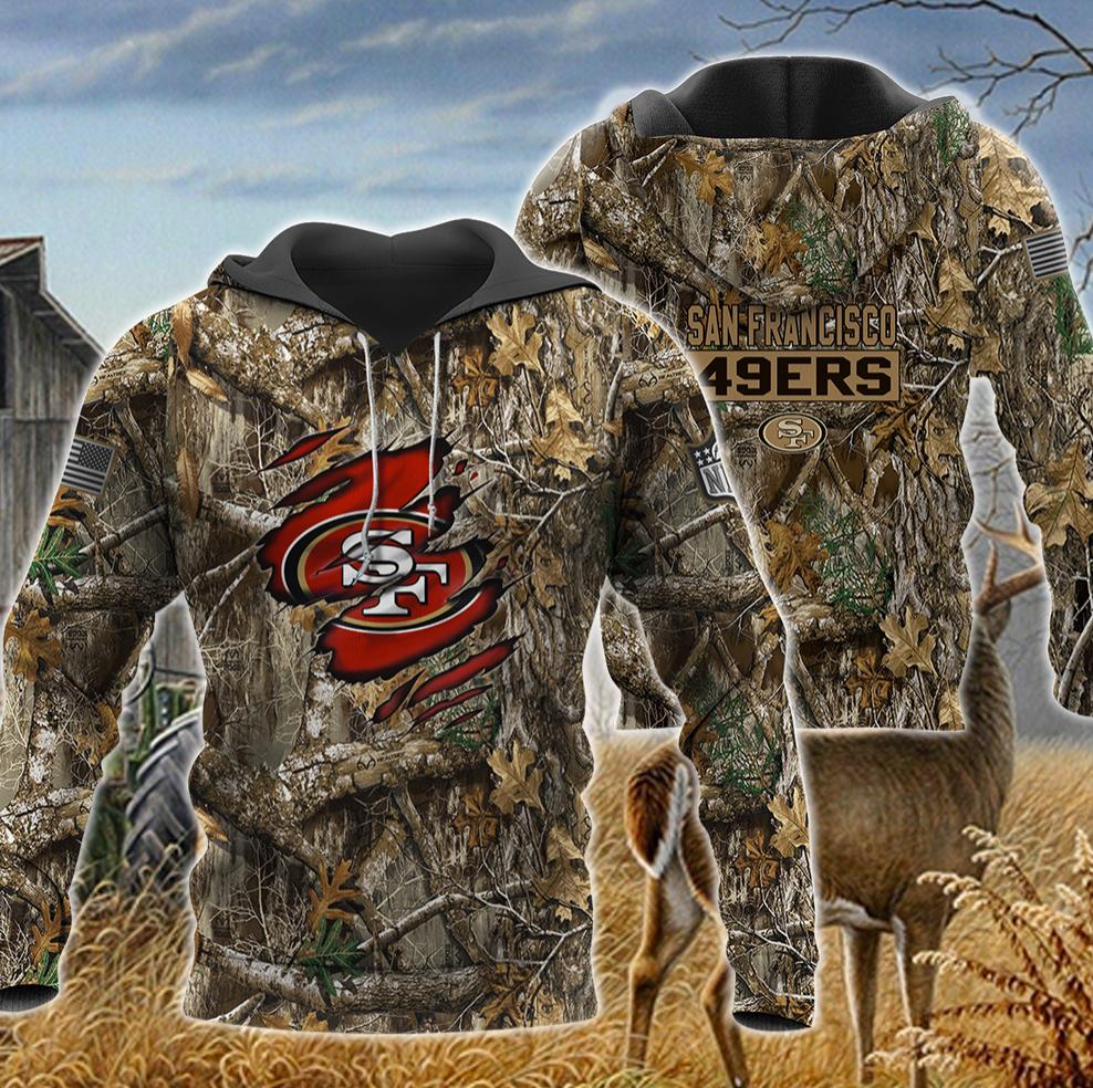 San Francisco 49ers deer hunting camo all over printed 3D hoodie