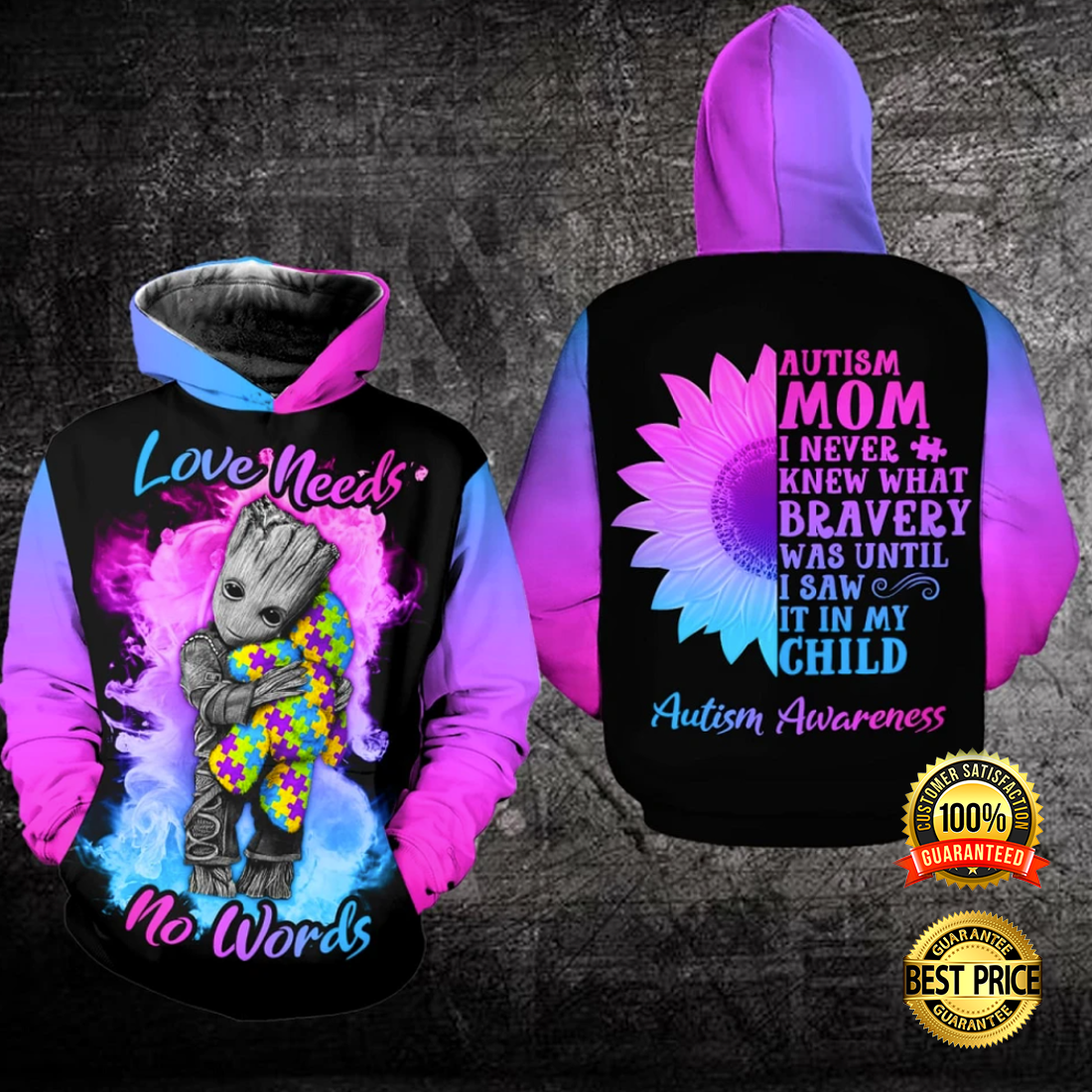 Autism love needs no words all over printed 3D hoodie 2