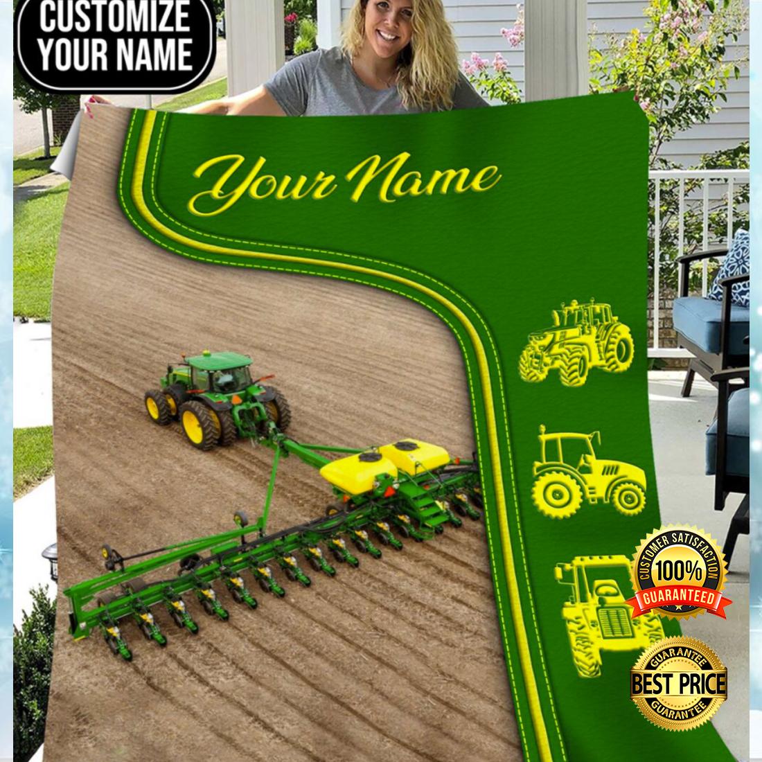 Personalized green tractor farmer blanket 4