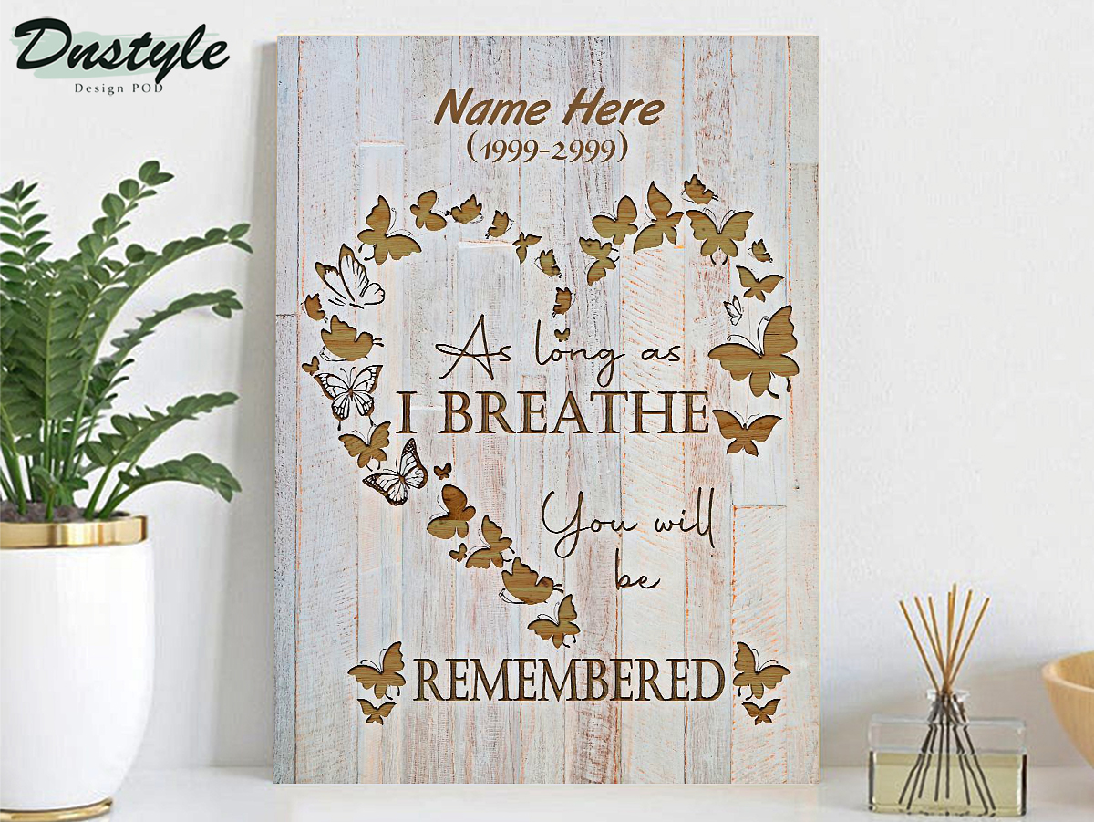 Personalized custom name as long as I breathe you will be remembered poster A1