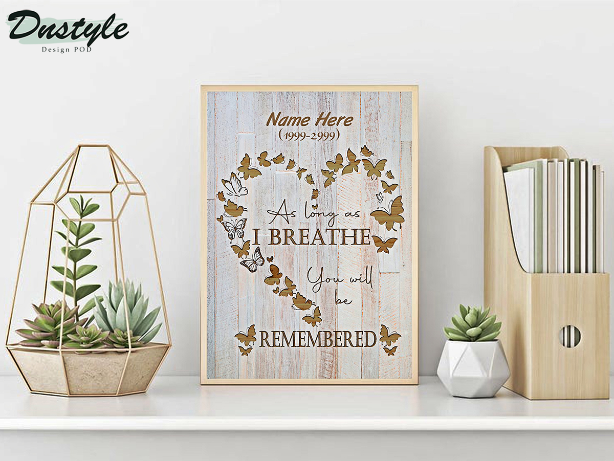 Personalized custom name as long as I breathe you will be remembered poster A2