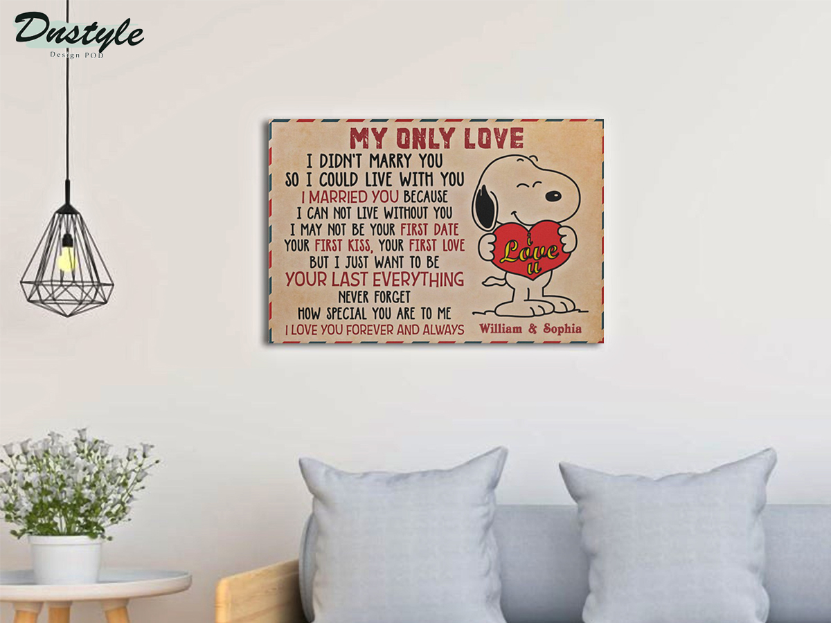 Personalized custom name snoopy my only love canvas prints large