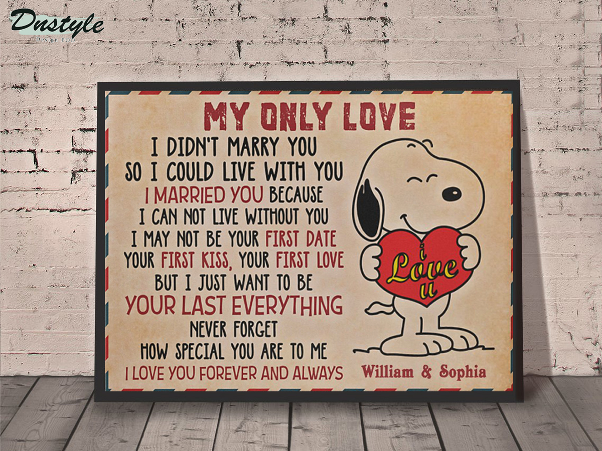 Personalized custom name snoopy my only love canvas prints small