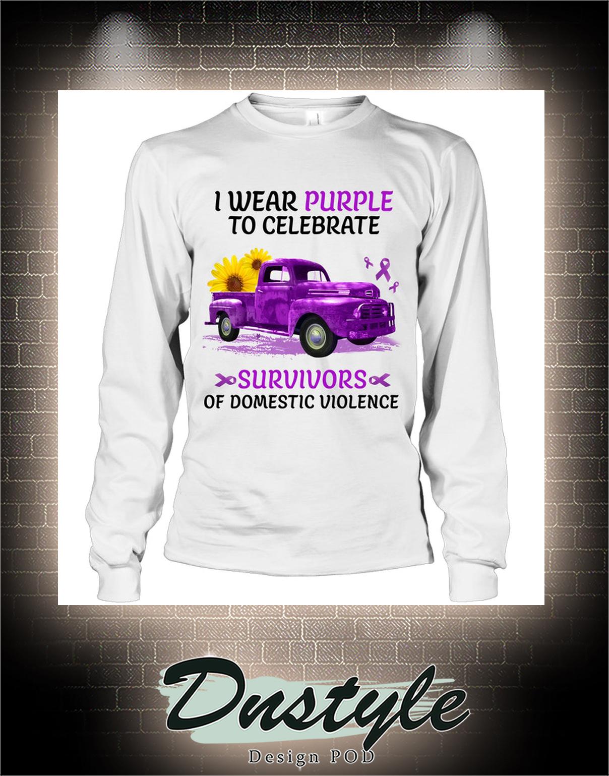 Truck I wear purple to celebrate survivors of domestic violence long sleeve