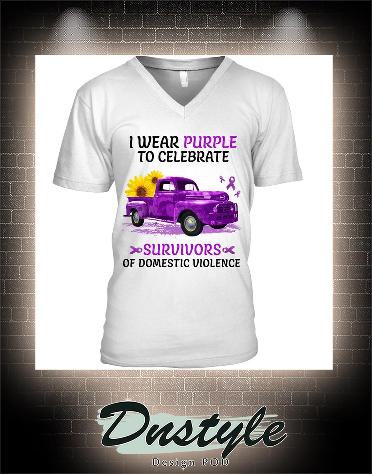 Truck I wear purple to celebrate survivors of domestic violence v-neck