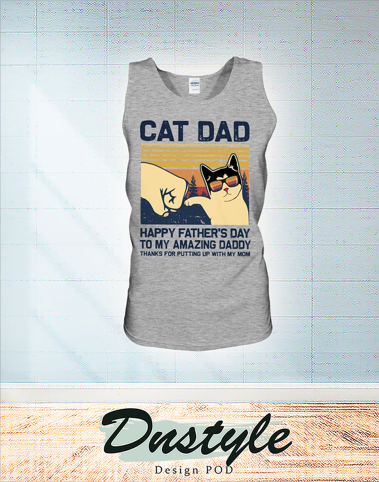 Vintage Cat dad happy father's day to amazing daddy tank