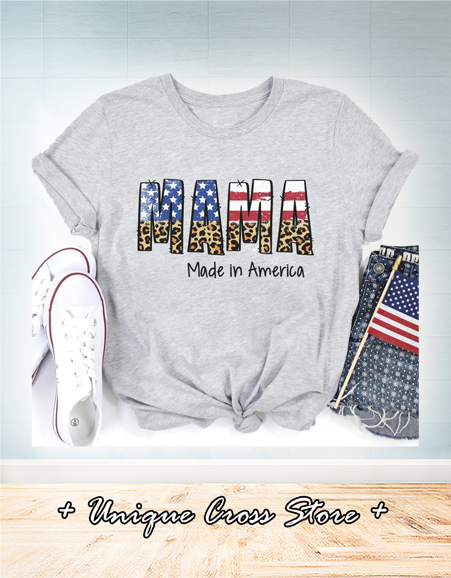 4th of july american flag mama made in america family t-shirt