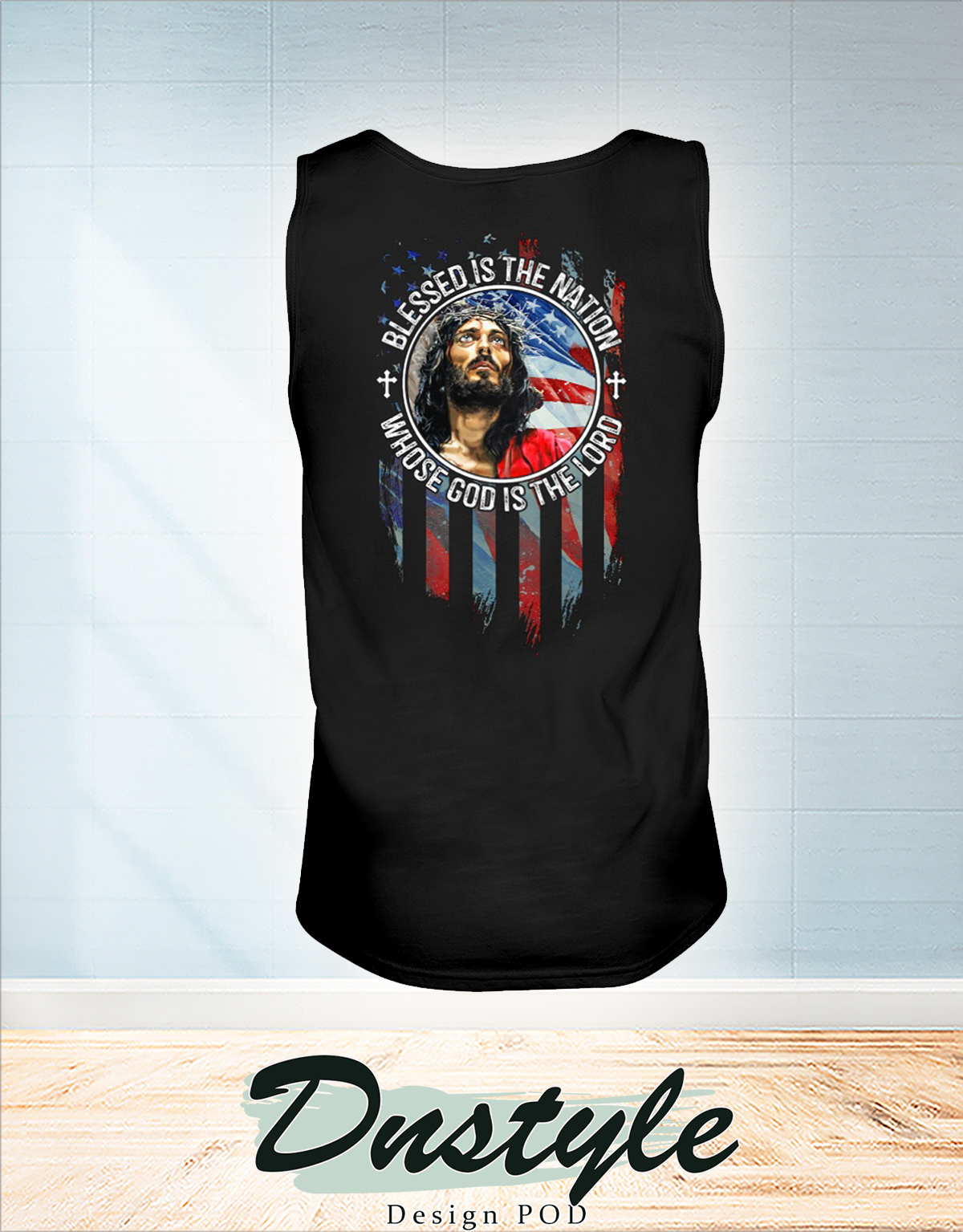 American flag Blessed is the nation whose god is the lord american flag independence day tank