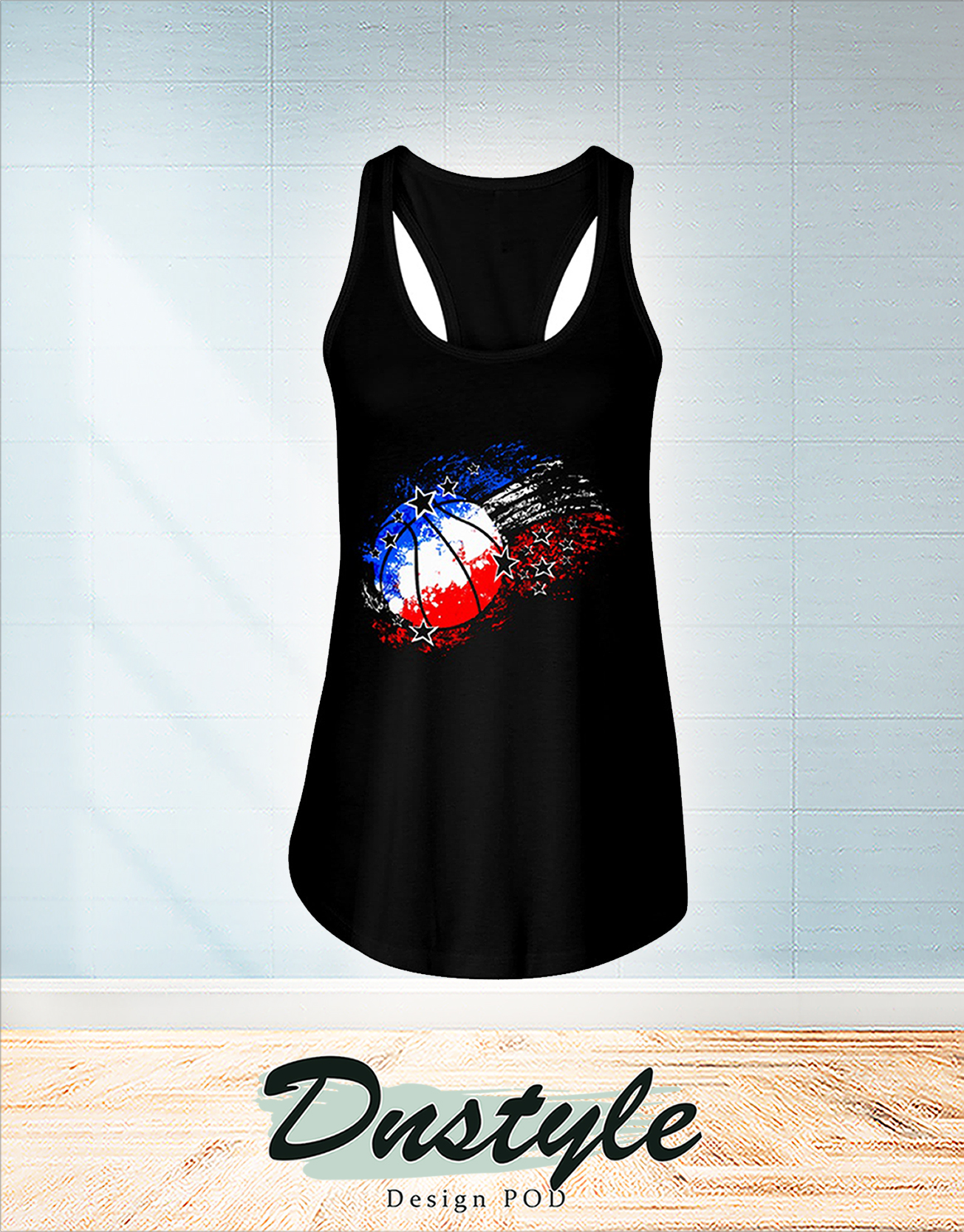 Basketball red white blue 4th july flowy tank