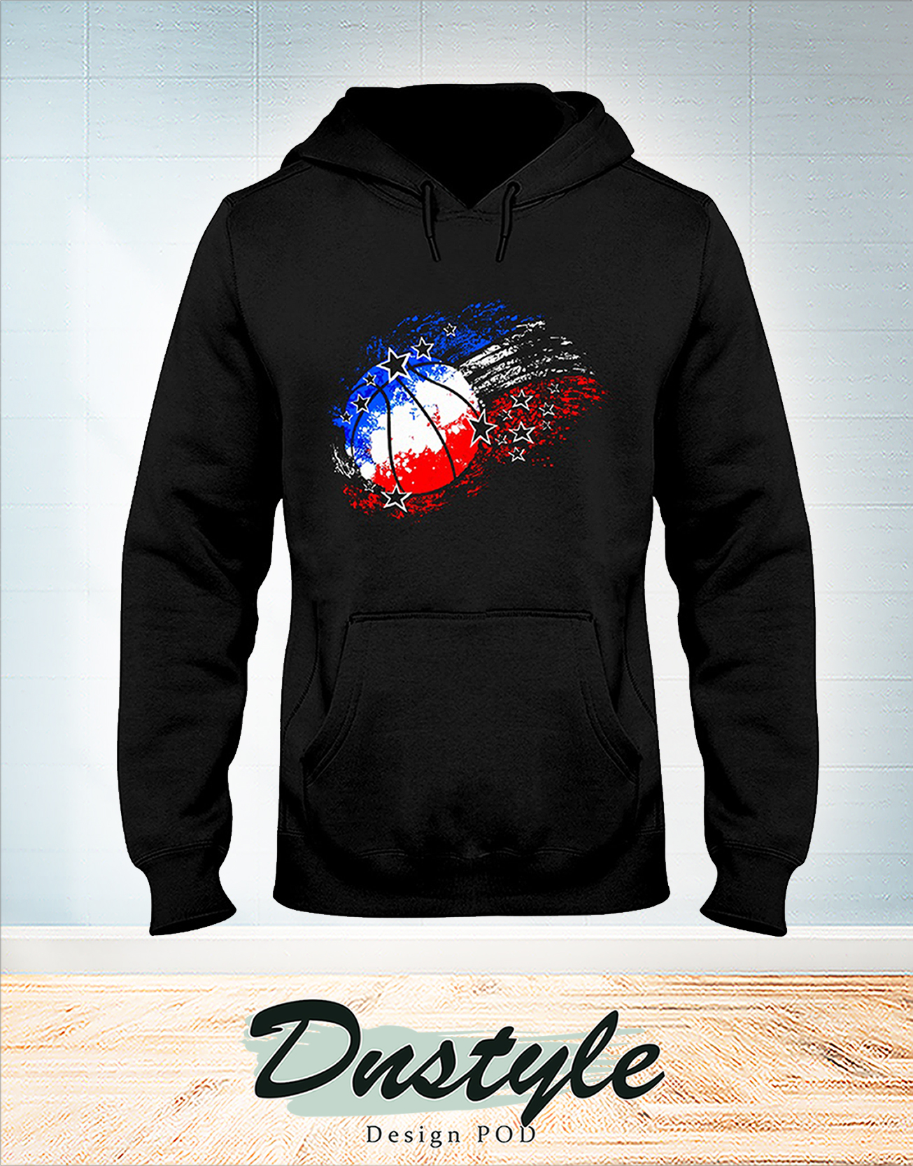 Basketball red white blue 4th july hoodie
