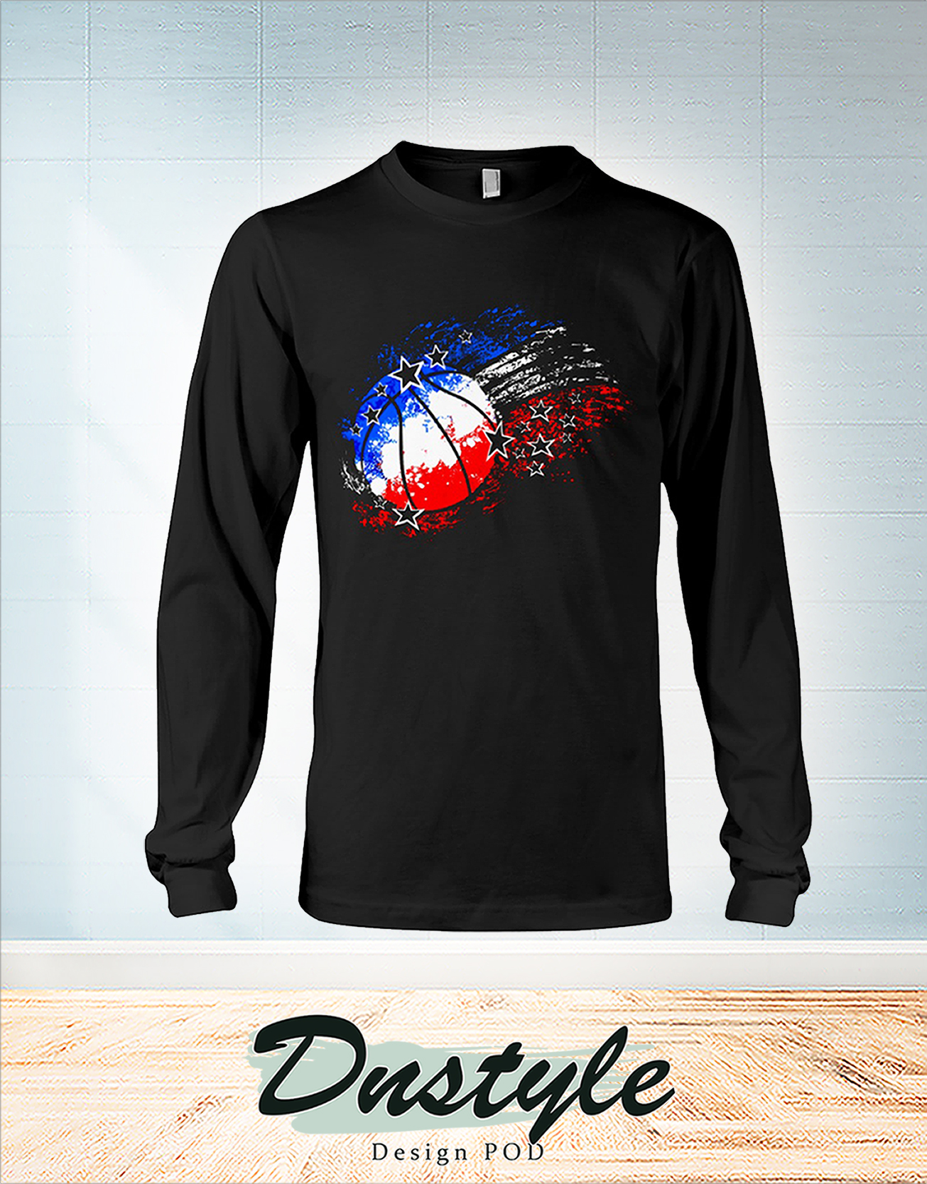 Basketball red white blue 4th july long sleeve
