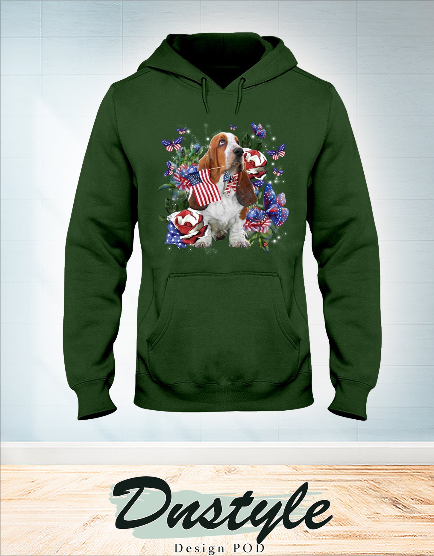 Basset Hound only one nation I love american flag 4th of july hoodie