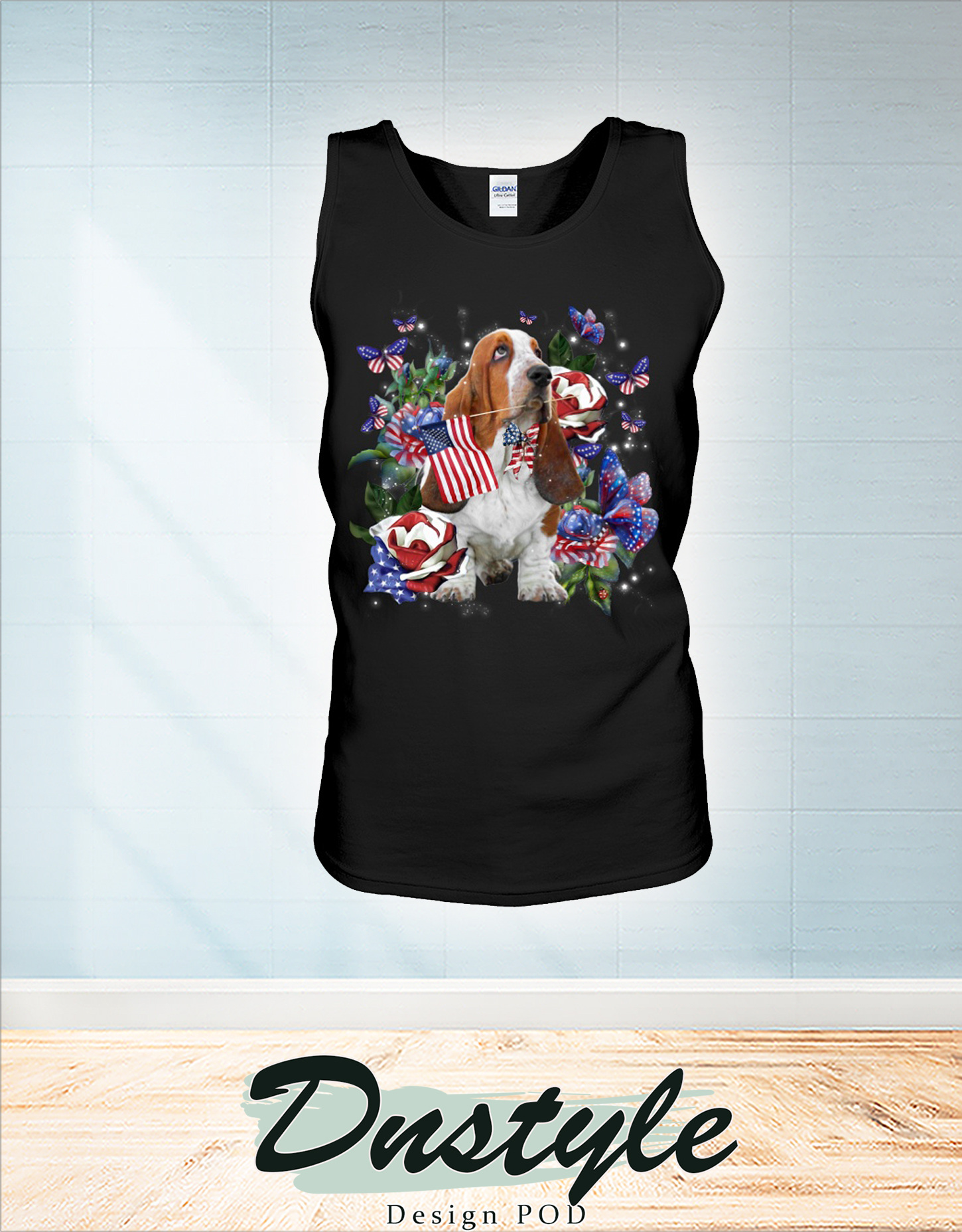 Basset Hound only one nation I love american flag 4th of july tank