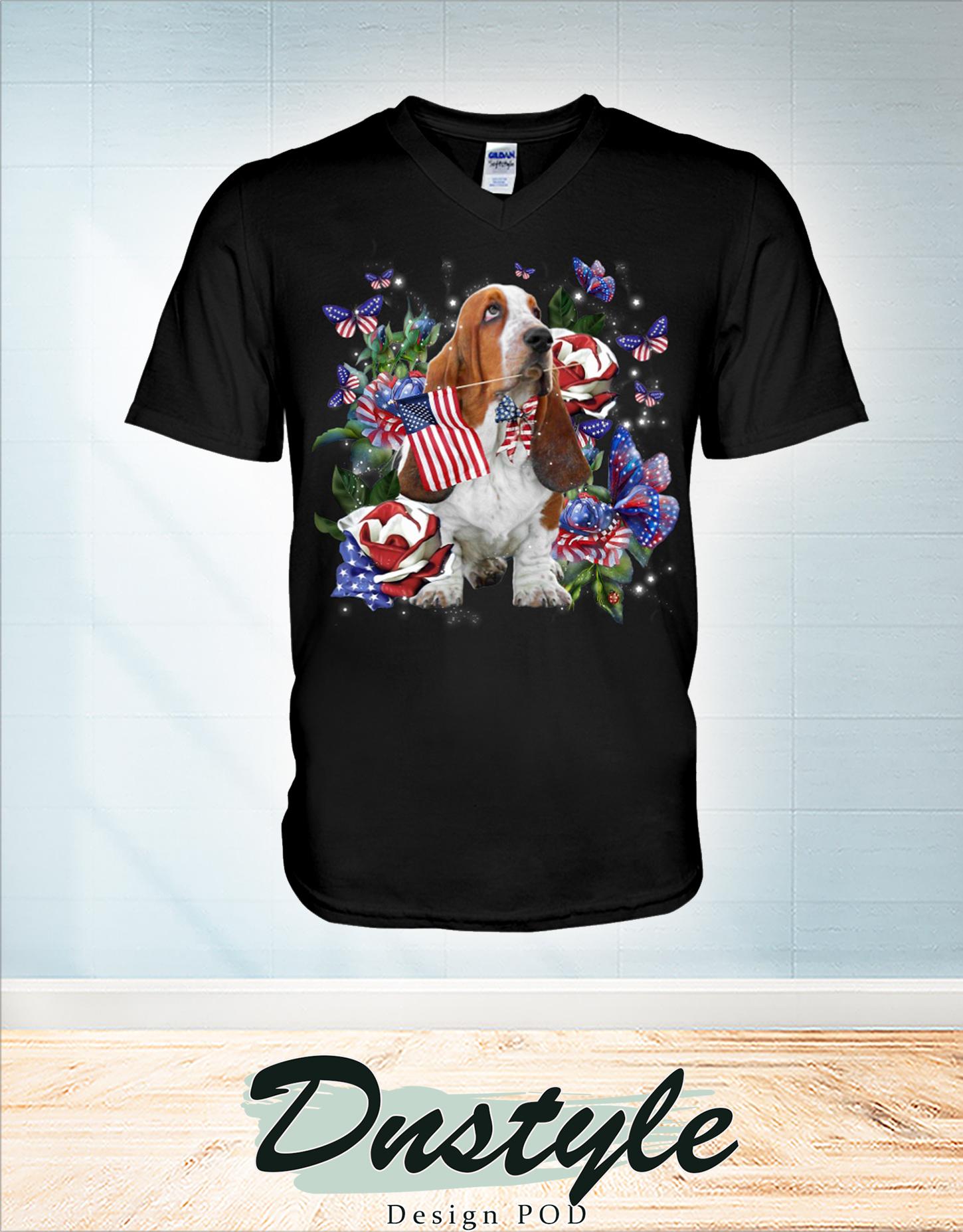 Basset Hound only one nation I love american flag 4th of july v-neck