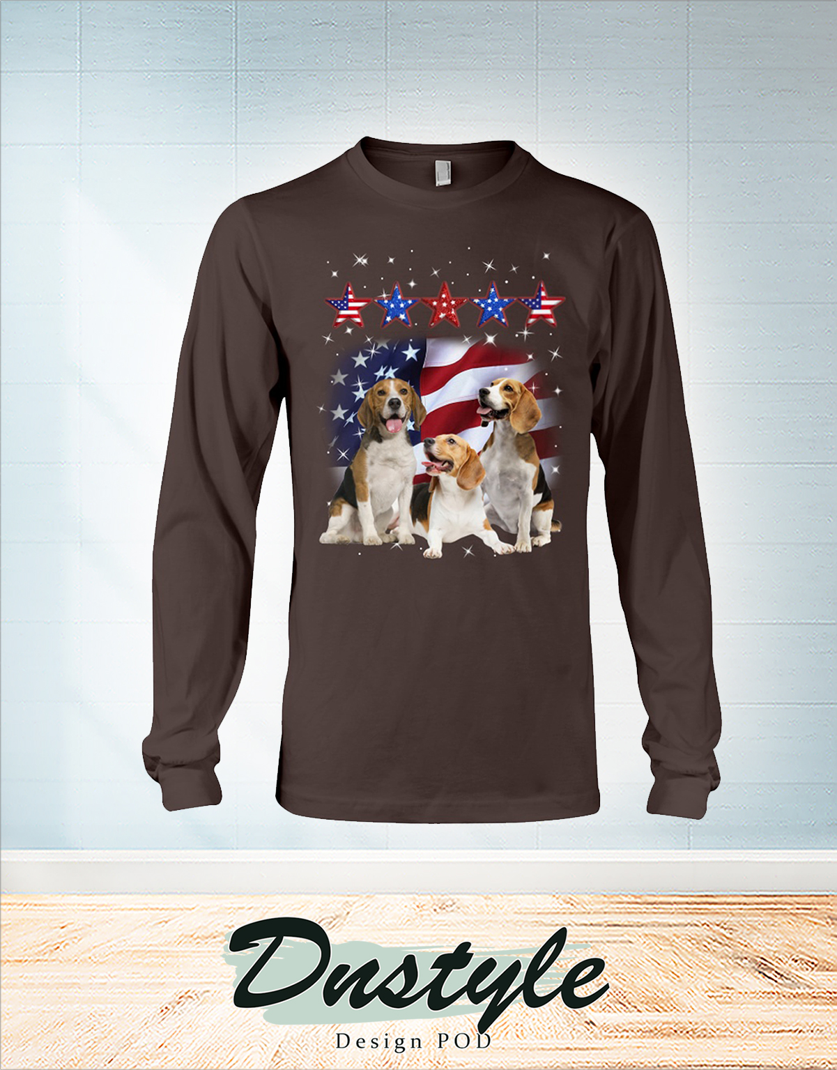 Beagle america five star fore 4th of July long sleeve