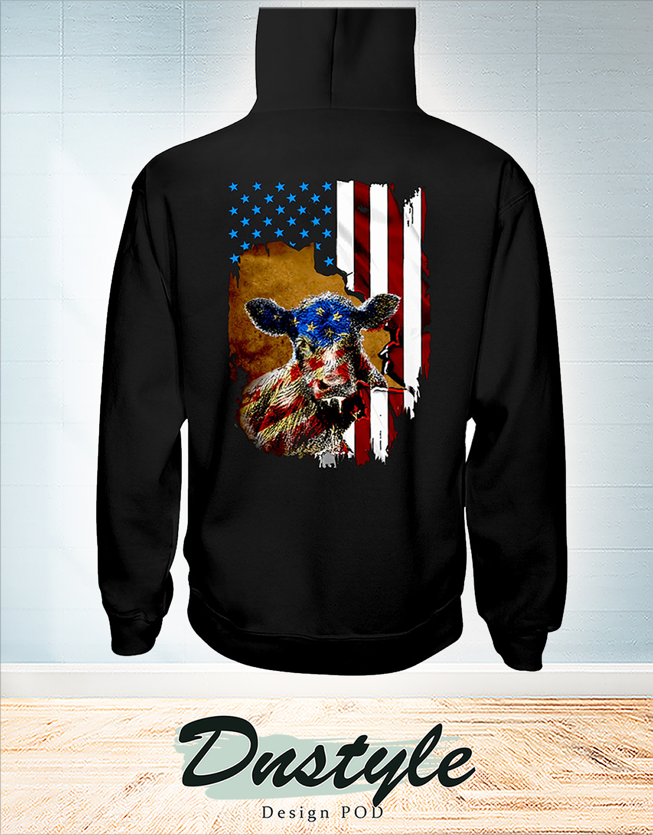 Beef cattle Farmer american flag independence day hoodie