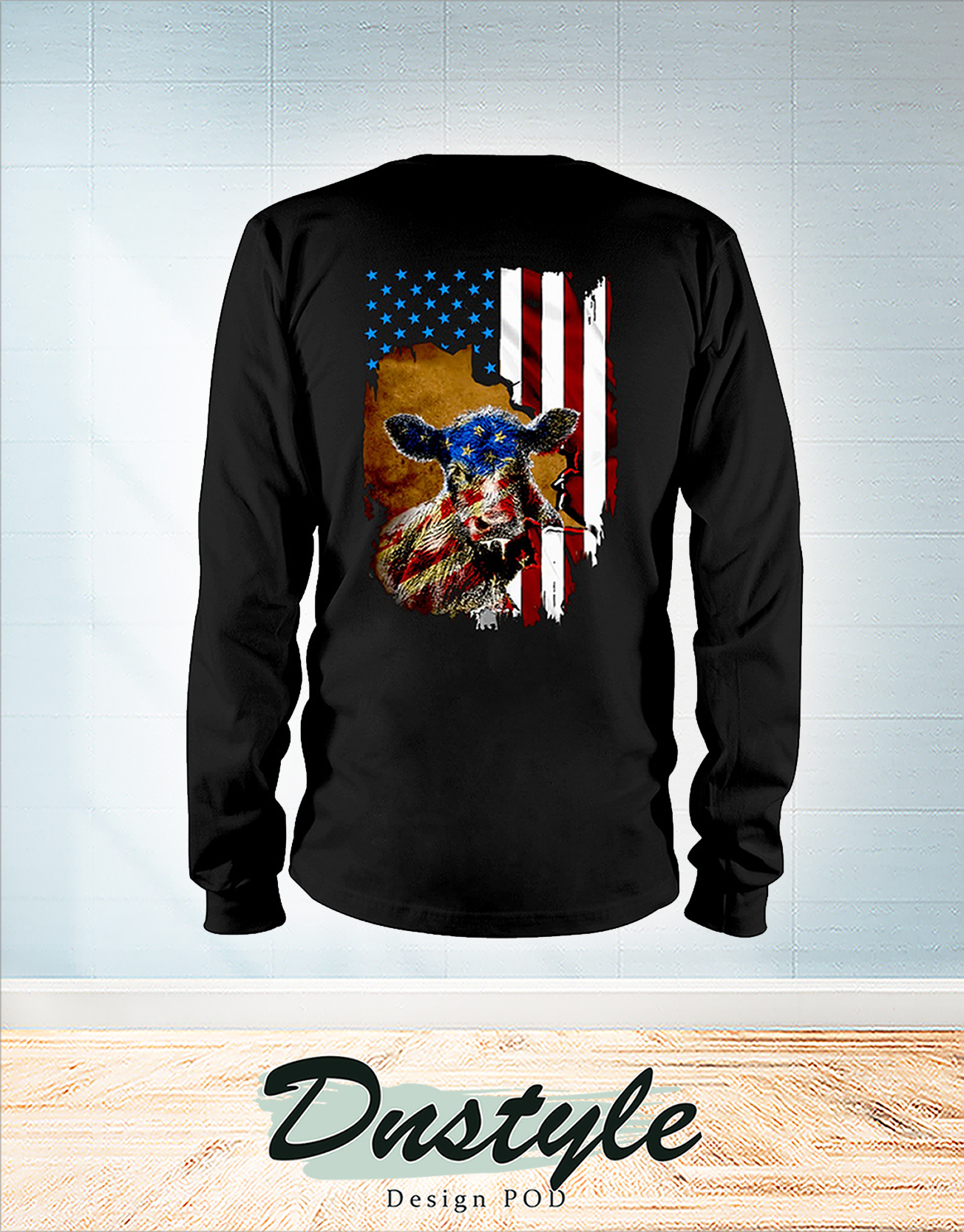 Beef cattle Farmer american flag independence day long sleeve