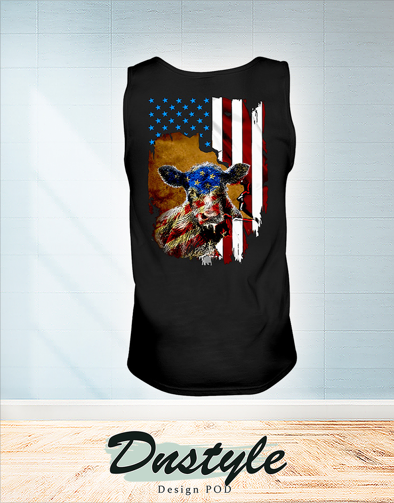 Beef cattle Farmer american flag independence day tank