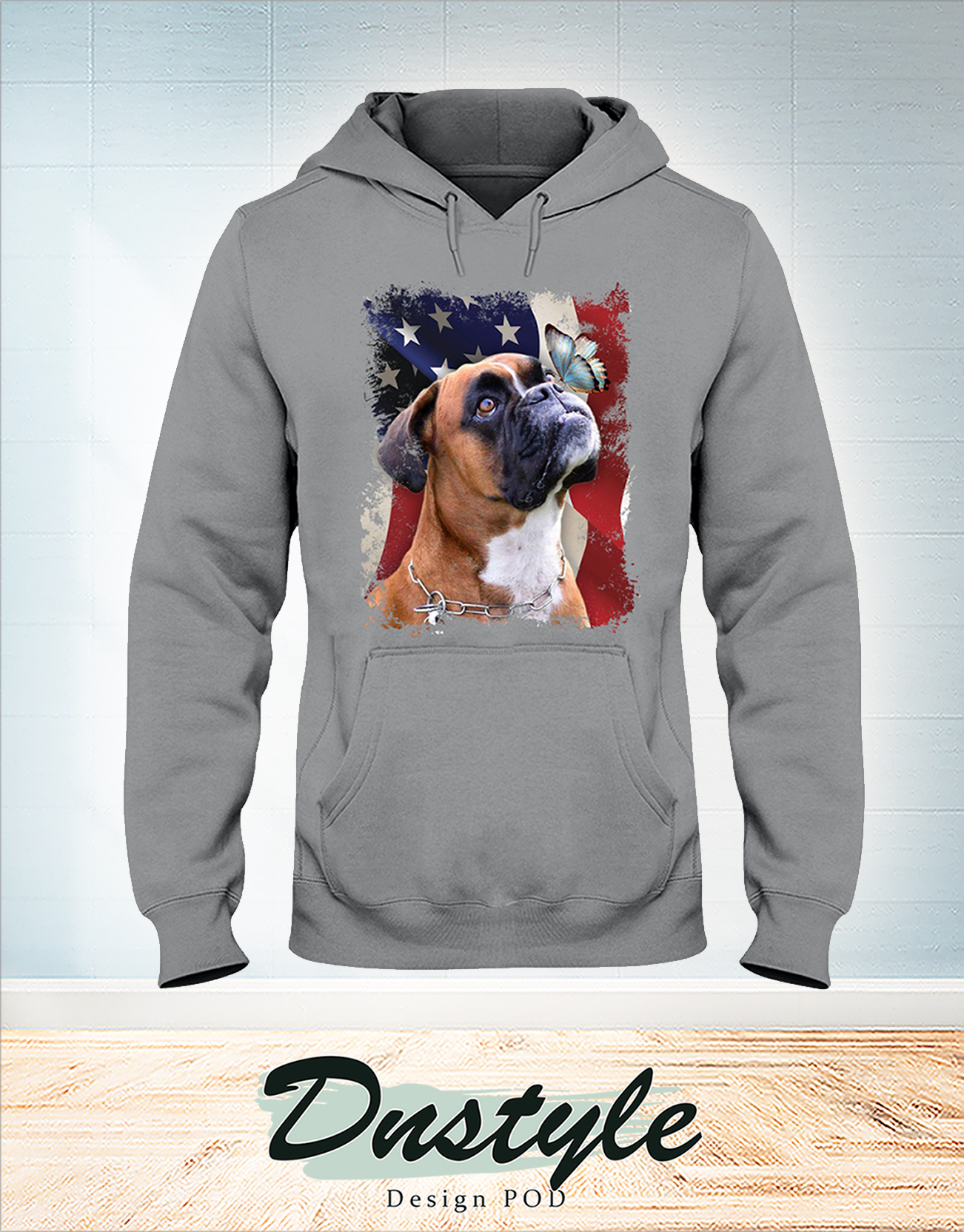 Boxer butterfly on nose american flag independence day hoodie