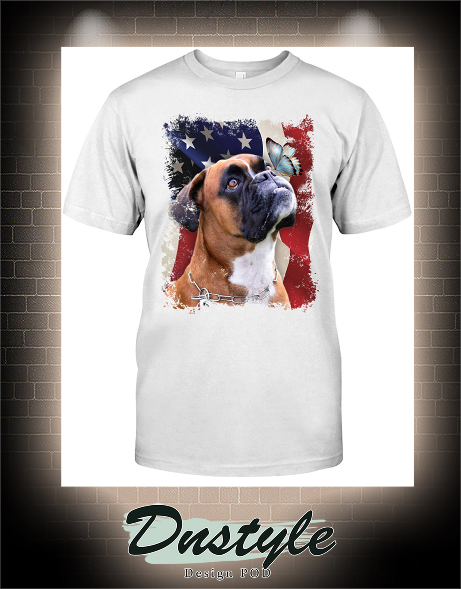 Boxer butterfly on nose american flag independence day t-shirt