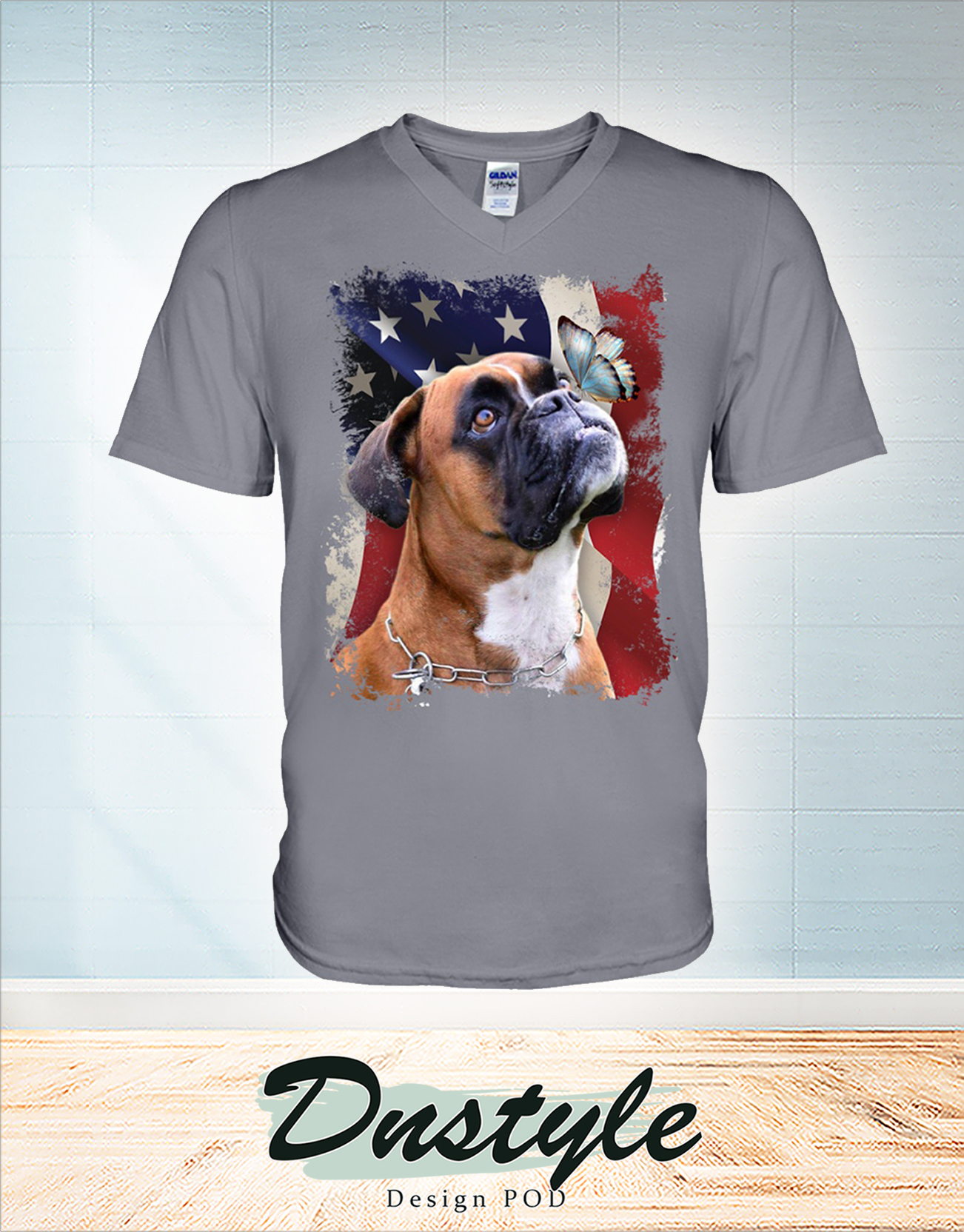 Boxer butterfly on nose american flag independence day v-neck