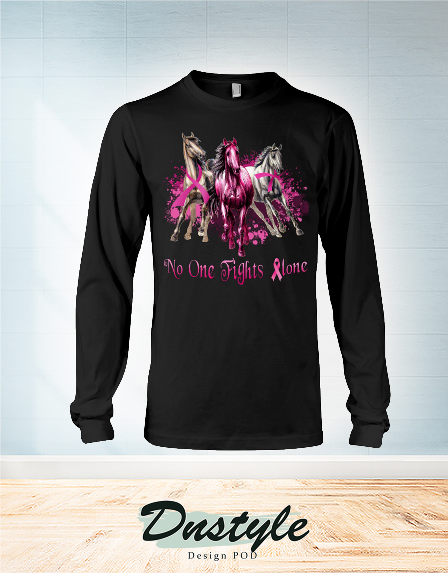 Breast Cancer awareness horses no one fights alone long sleeve