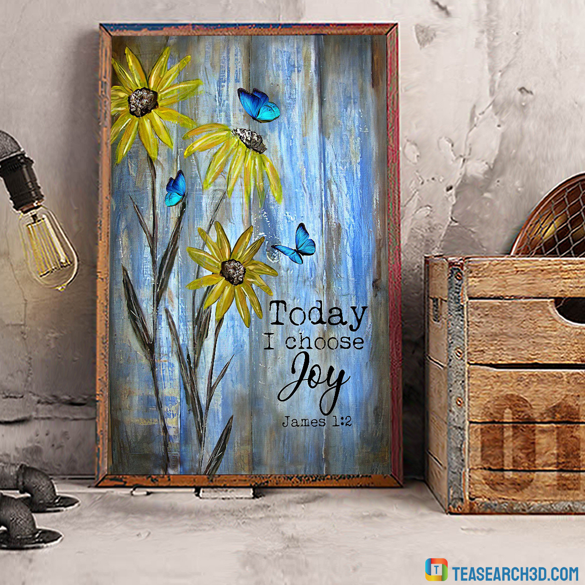 Butterfly and flower today I choose joy jesus canvas large
