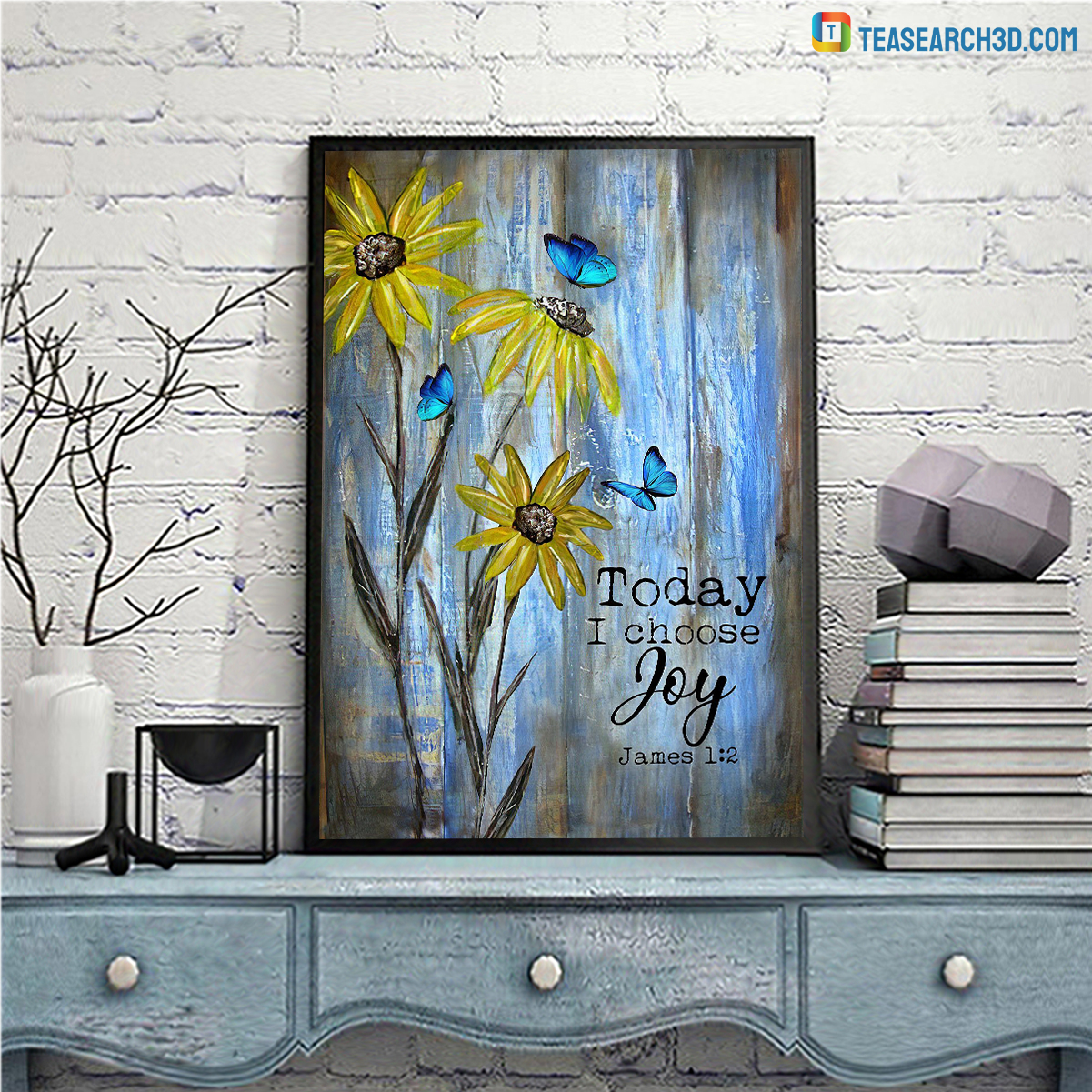 Butterfly and flower today I choose joy jesus canvas medium