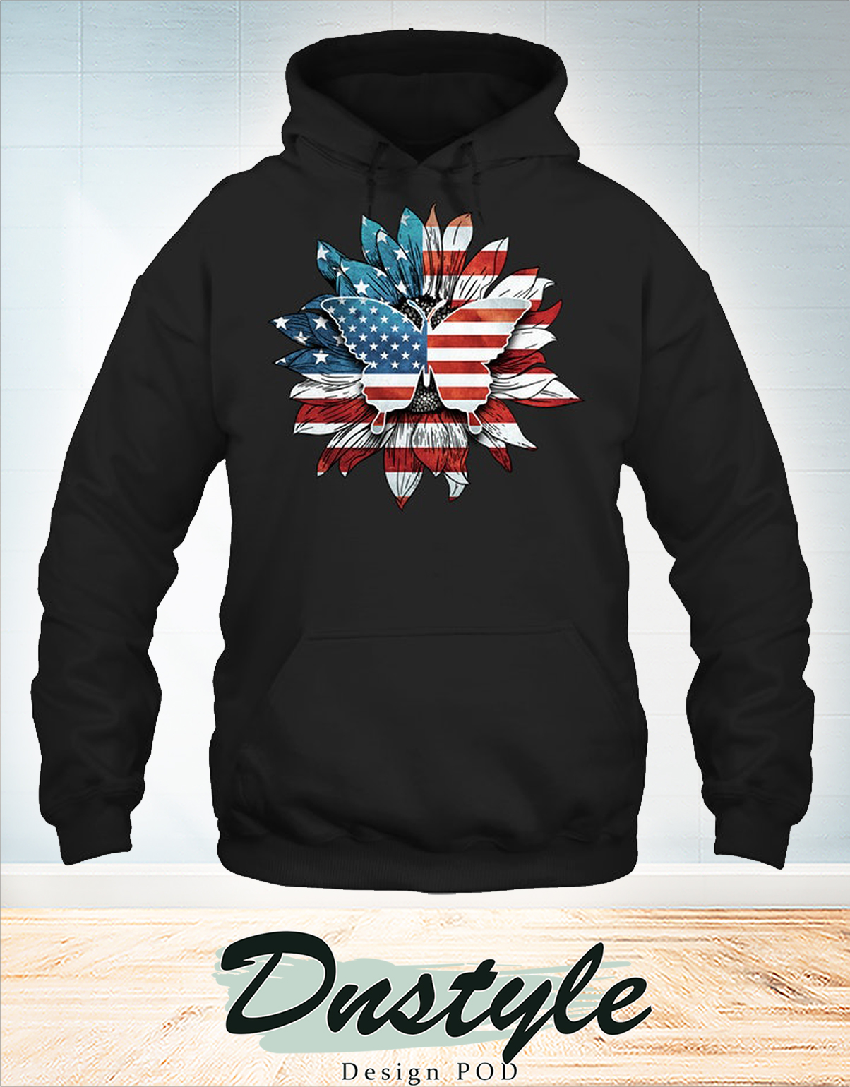 Butterfly sunflower us flag hoodie