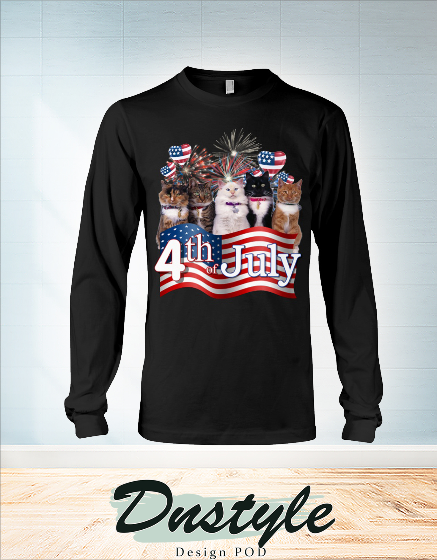 Cats we love america 4th of july long sleeve
